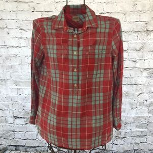 J. Crew XS Red Blue Plaid Button Long Sleeve Tunic